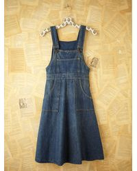 Free People | Blue Vintage Denim Overall Dress | Lyst