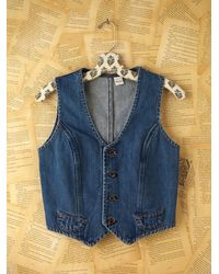 Free People | Blue Micro Woven Denim Vest | Lyst