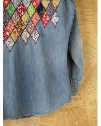 Free People | Blue Vintage Quilt Denim Shirt | Lyst