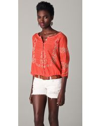 Free People | Pink Mayfair Sheer Embroidered Top | Lyst