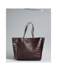 Furla | Brown Coffee Croc Embossed Leather Everyone Shopper Tote | Lyst