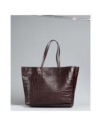 Furla - Brown Coffee Croc Embossed Leather Everyone Shopper Tote - Lyst