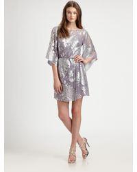 Kay Unger | Purple Silk Kimono Dress | Lyst