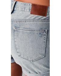 Madewell - Blue Destroyed Denim Midi Shorts - Lyst