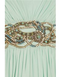 Marchesa - Green Crystal-embellished Silk-chiffon Gown - Lyst