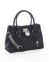Michael Kors | Black Michael Hamilton Leather Satchel | Lyst