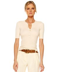 Michael Kors | Natural Cashmere Henley Sweater | Lyst