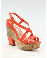 Miu Miu - Orange Patent Leather Cork Platform Sandals - Lyst