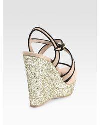 Miu Miu - Pink Glitter and Suede Slingback Wedge Sandals - Lyst