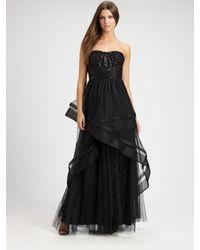 ML Monique Lhuillier | Black Strapless Tulle Gown | Lyst