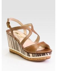 Prada | Brown Leather and Wood Multistrap Wedge Sandals | Lyst