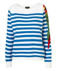 TOPSHOP | Blue Knitted Parrot Stripe Jumper | Lyst