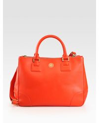 Tory Burch | Orange Robinson Double Zip Tote Bag | Lyst