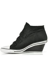 Ash - Gin - Black Canvas Wedge Sneaker - Lyst