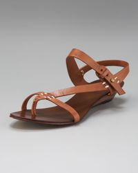 7 For All Mankind | Brown June Topstitch Sandal | Lyst