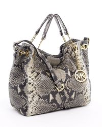 MICHAEL Michael Kors | Natural Jet Set Medium Tote, Dark Sand Python | Lyst