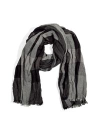 Burberry | Gray Dark Charcoal Mega Check Linen Silk Scarf | Lyst
