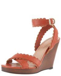 Chloé | Brown Scallop-strap Wedge Sandal | Lyst