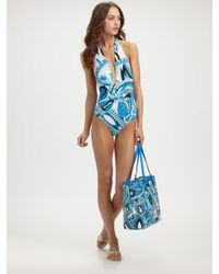 Emilio Pucci | Blue One-piece Deep-plunge Swimsuit | Lyst