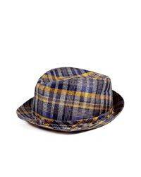 Etro | Blue Indigo/sunflower Check Silk/linen Hat for Men | Lyst