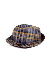 Etro - Blue Indigo/sunflower Check Silk/linen Hat for Men - Lyst