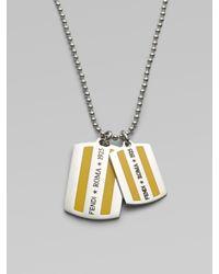 Fendi | Metallic FF Enamel Dog Tag Necklace for Men | Lyst
