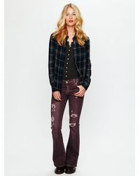 Free People | Purple Destroyed Thrift Flare | Lyst