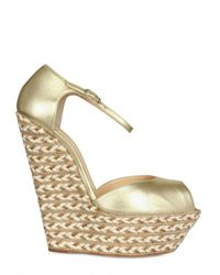 Giuseppe Zanotti | 155mm Metallic Leather Peep Toe Wedges | Lyst