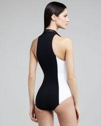 Lisa Marie Fernandez | Black Daphne Colorblock Zip-up One-piece Swimsuit | Lyst