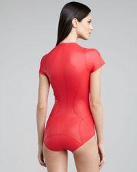 Lisa Marie Fernandez - Red Farrah Short-sleeve Scuba Swimsuit - Lyst
