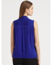 Rachel Zoe | Blue Jessica Sleeveless Tie Collar Top | Lyst
