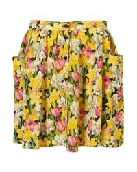 TOPSHOP - Yellow Daffodil Print Skirt - Lyst