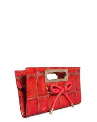 Viktor & Rolf - Red Printed Alligator Clutch - Lyst