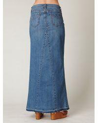 Free People - Blue Chloe Denim Maxi Slit Skirt - Lyst