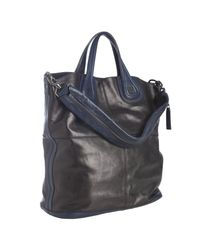 Givenchy - Black and Navy Colorblock Calfskin Nightingale Shoulder Tote - Lyst