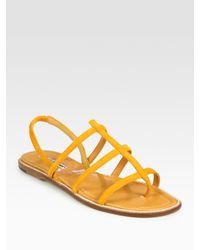 Manolo Blahnik | Orange Suede Slingback Gladiator Sandals | Lyst
