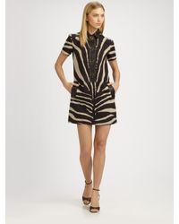 Michael Kors - Brown Leather-trimmed Zebra Print Dress - Lyst