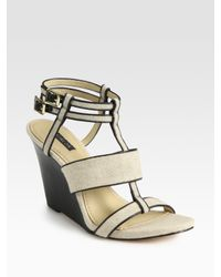 Rachel Zoe | Natural Debra Linen and Leather T-strap Wedge Sandals | Lyst