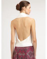 Saint Laurent   White Silk Halter Top   Lyst