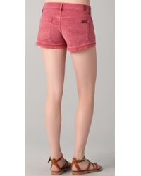7 For All Mankind - Pink Let Down Hem Cutoff Shorts - Lyst