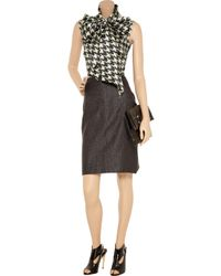 Alexander McQueen | Black Houndstooth Pussy-bow Shirt | Lyst