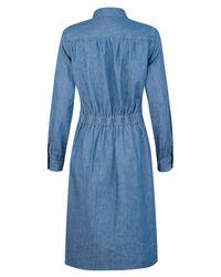 A.P.C. - Blue Long Sleeve Denim Shirt Dress - Lyst