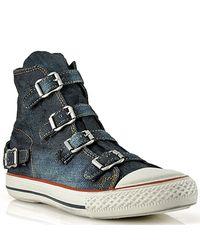 Ash | Blue Virginbis - Buckle Sneaker in Denim | Lyst