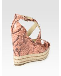 B Brian Atwood - Pink Dekoda Snake-print Leather Espadrille Wedge Sandals - Lyst