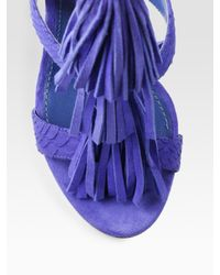B Brian Atwood - Purple Luciana Snake-print Leather and Suede Fringe Sandals - Lyst