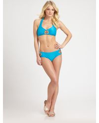 Badgley Mischka | Blue Tangier Halter Bikini Top | Lyst