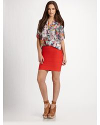 BCBGMAXAZRIA - Red Silk Liberty Blouse - Lyst