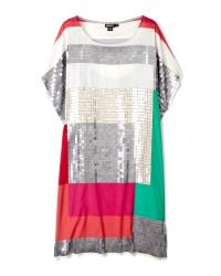 DKNY | Multicolor Short Sleeve Sequin Shift Dress | Lyst