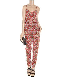 DKNY | Pink Floral-print Stretch-silk Jumpsuit | Lyst