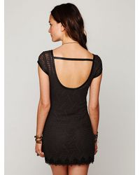 Free People - Black Short Sleeve Cage Shift Dress - Lyst